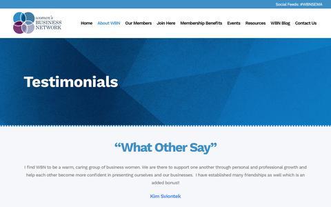 Screenshot of Testimonials Page wbnsema.org - Women's Business Network (WBN) of Southeastern Massachusetts |   Testimonials - captured Oct. 19, 2018