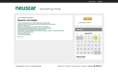 Research and Insights /  Home / Numbering Portal / Sites - Numbering Portal