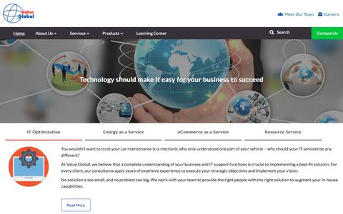 Screenshot of Home Page valueglobal.net - Value Global, LLC: IT Optimization Services for Energy, e-Commerce - captured May 6, 2018