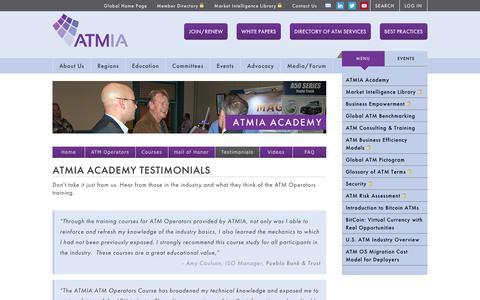 Screenshot of Testimonials Page atmia.com - Training Testimonials - captured Feb. 5, 2016