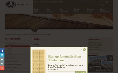 Screenshot of FAQ Page timberlane.com - Timberlane Exterior Shutters :: FAQS - captured Nov. 4, 2014