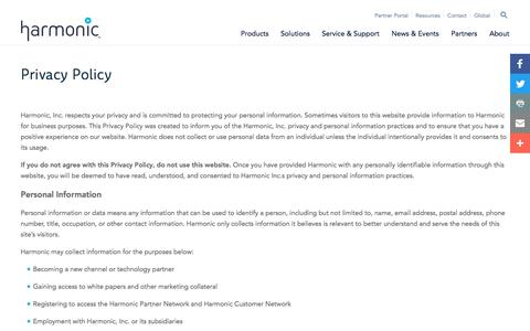 Screenshot of Privacy Page harmonicinc.com - Privacy Policy - Harmonic - captured Jan. 6, 2017