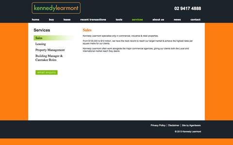 Screenshot of Services Page kennedylearmont.com - Kennedy Learmont - Sales - captured Oct. 9, 2014