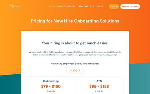Screenshot of Pricing Page workbright.com - Pricing for New Hire Onboarding Solutions   WorkBright - captured July 6, 2018