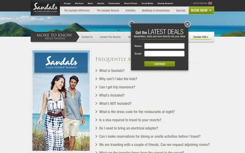 Screenshot of FAQ Page sandals.co.uk - FAQs - More to Know About Sandals Resorts - captured Oct. 27, 2014