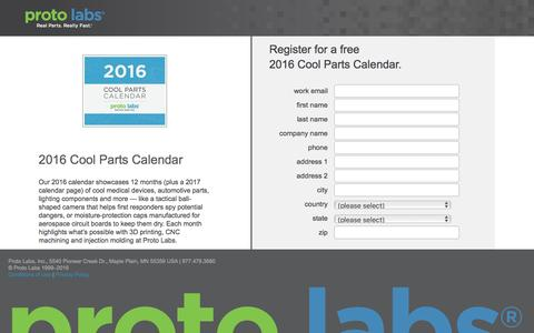 Screenshot of Landing Page protolabs.com - Register for your free 2015 Cool Parts Calendar - captured Aug. 9, 2016