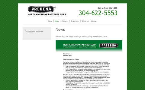 Screenshot of Press Page prebena-usa.com - PREBENA North American Fastener Corp. - News - captured Sept. 25, 2018