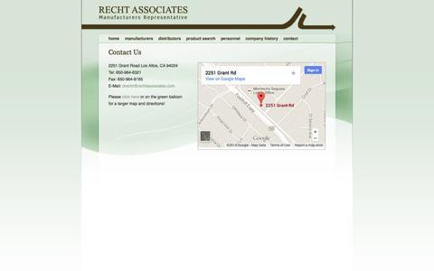 Screenshot of Contact Page rechtassociates.com - Recht Associates - captured Oct. 26, 2014