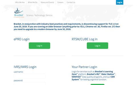 Screenshot of Login Page bracketglobal.com - Bracket Client Login - captured Oct. 6, 2018