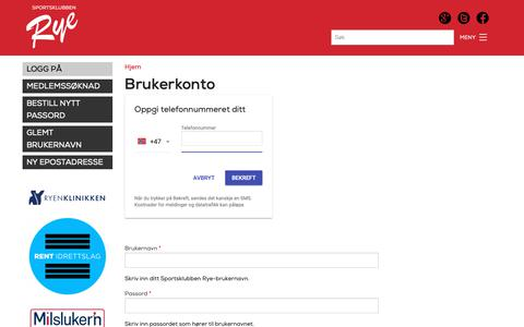 Screenshot of Login Page sportsklubbenrye.no - Brukerkonto   Sportsklubben Rye - captured Oct. 20, 2018