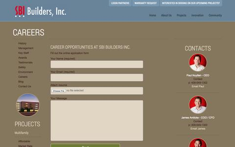Screenshot of Jobs Page sbibuilders.com - Careers « SBI Builders Inc. - captured Nov. 2, 2014