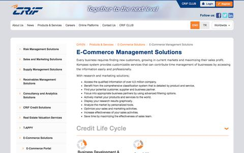 Screenshot of Services Page crif.com.tr - E-Commerce Management Solutions - captured Feb. 12, 2020