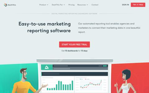 Screenshot of Home Page dashthis.com - Marketing Reporting Dashboards For Analytics, SEM & SEO | DashThis - captured June 9, 2018