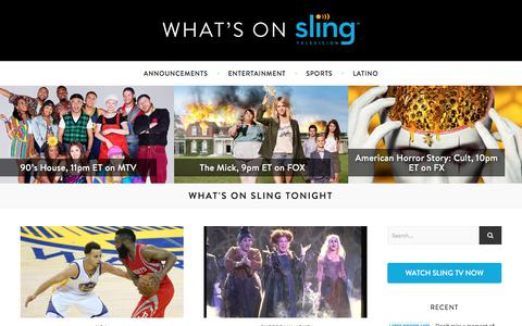 Screenshot of Blog sling.com - What's On Sling - Sports, Shows and Movies on Sling TV - captured Oct. 17, 2017