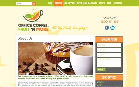 Screenshot of About Page officecoffeefruitandmore.com.au - About Us - Office Coffee, Fruit and More - captured Oct. 7, 2014