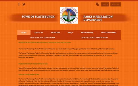 Screenshot of Terms Page townofplattsburghrecreation.com - Town of Plattsburgh Parks And Recreation > Home - captured Jan. 29, 2017