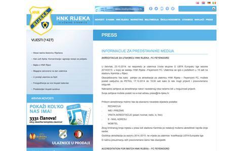 Screenshot of Press Page nk-rijeka.hr - HNK RIJEKA - službene stranice - Press - captured Oct. 26, 2014