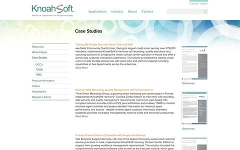 Screenshot of Case Studies Page knoahsoft.com - KnoahSoft Contact Center Workforce Optimization Solutions - captured Nov. 27, 2016