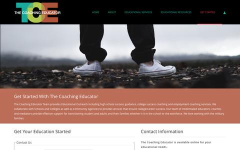 Screenshot of Contact Page thecoachingeducator.com - Get Started - captured Feb. 27, 2016