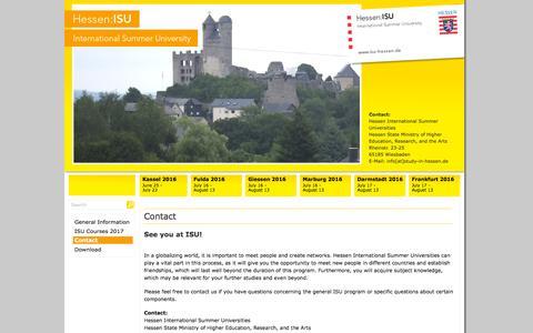 Screenshot of Contact Page isu-hessen.de - Hessen:ISU - International Summer Universities - captured May 21, 2016