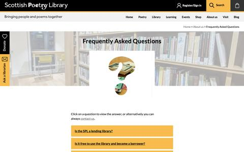 Screenshot of FAQ Page scottishpoetrylibrary.org.uk - Frequently Asked Questions | Scottish Poetry Library - captured Dec. 7, 2018
