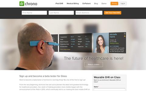 Screenshot of Signup Page drchrono.com - Google Glass EHR - drchrono - captured Sept. 15, 2014