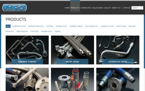 Screenshot of Products Page mfchose.com - Tubing | Hose | HVAC | Fittings | Metal Hose | MFC | MFC - captured Oct. 26, 2014