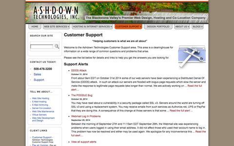 Screenshot of Support Page ashdowntech.com - Customer Support » Ashdown Technologies, Inc. - captured Nov. 2, 2014