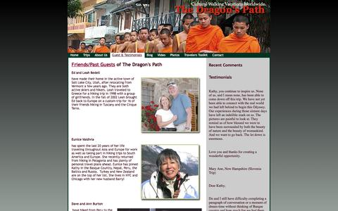 Screenshot of Testimonials Page thedragonspath.com - Testimonials from past guests - captured Jan. 13, 2016