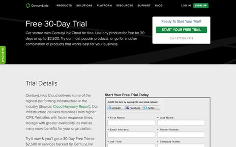 Screenshot of Trial Page centurylinkcloud.com - Free-Trial  - CenturyLink Cloud - captured Oct. 28, 2014
