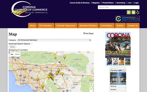 Screenshot of Maps & Directions Page mychamber.org - Map - Corona Chamber of Commerce, CA - captured Feb. 8, 2016