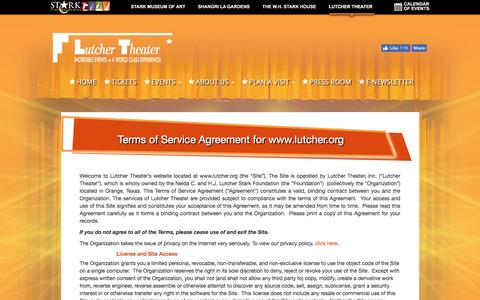 Screenshot of Terms Page lutcher.org - Terms of Service Agreement for www.lutcher.org   Lutcher Theater - captured April 17, 2017