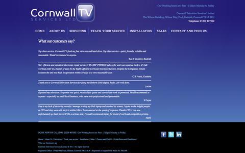 Screenshot of Testimonials Page cornwalltv.co captured Oct. 1, 2014