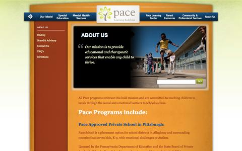 Screenshot of About Page paceschool.org - About Us - captured Sept. 26, 2014