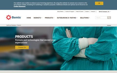 Screenshot of Products Page bemis.com - Healthcare Packaging Products | Bemis - captured March 13, 2017