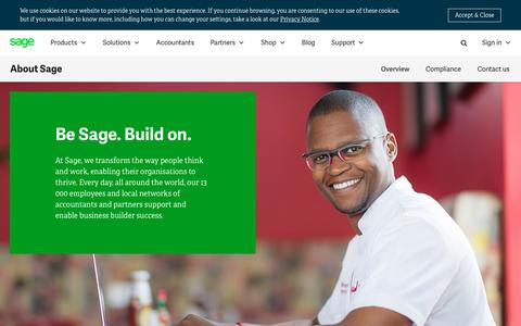Screenshot of About Page sage.com - About us | Sage South Africa - captured July 17, 2019