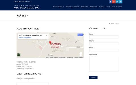 Screenshot of Maps & Directions Page withviclegal.com - Map | NO FEE Unless We Win! - captured Oct. 2, 2014