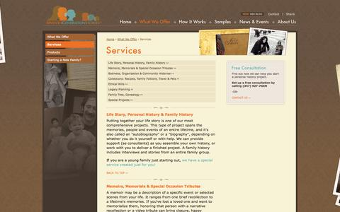 Screenshot of Services Page seventhgenerationstories.com - Seventh Generation Stories - Services - captured Oct. 9, 2014