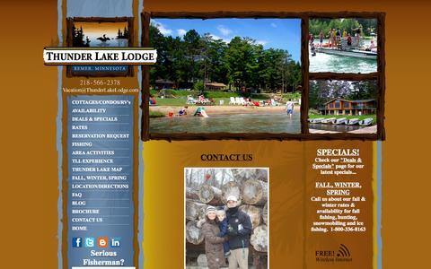 Screenshot of Contact Page thunderlakelodge.com - Family Fishing Resort Remer MN - captured Oct. 9, 2014
