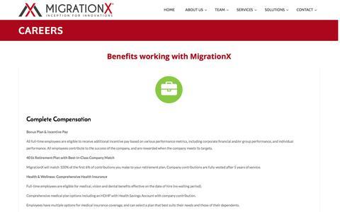 Screenshot of Jobs Page migrationx.com - Careers - - captured Dec. 26, 2016