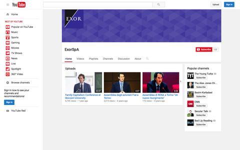 Screenshot of YouTube Page youtube.com - ExorSpA  - YouTube - captured Nov. 18, 2015