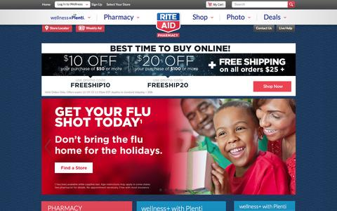 Screenshot of Home Page riteaid.com - Rite Aid Pharmacy - With Us, It's Personal - captured Dec. 16, 2015