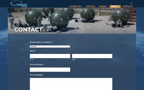Screenshot of Contact Page tracesystems.com - Contact - Trace Systems - captured Sept. 21, 2018