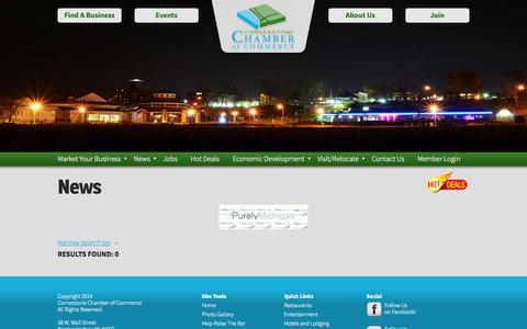 Screenshot of Press Page cornerstonechamber.com - News - Cornerstone Chamber of Commerce - captured Oct. 3, 2014