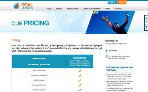 Goal Reports - Pricing