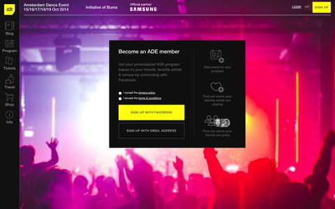 Screenshot of Signup Page amsterdam-dance-event.nl - Sign up - My ADE - Amsterdam Dance Event 2014 - captured Oct. 29, 2014