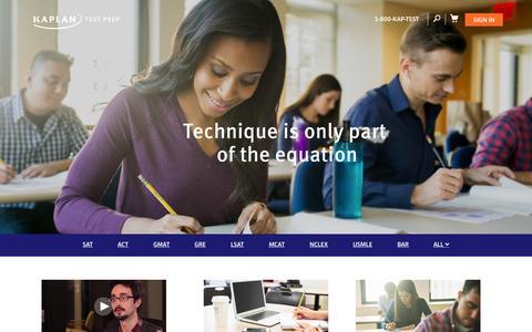 Screenshot of Home Page kaptest.com - Welcome to Kaplan Test Prep | Kaplan Test Prep - captured Oct. 1, 2015