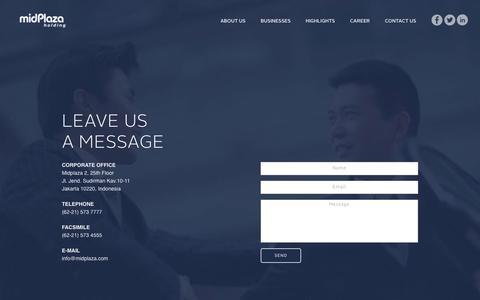 Screenshot of Contact Page midplaza.com - Midplaza Holding - captured Jan. 24, 2016