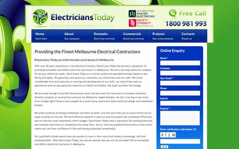 Screenshot of About Page electricianstoday.com.au - Melbourne Electrical Contractors - About Us | Electricians Today - captured Sept. 29, 2014
