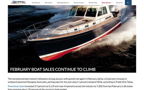 Screenshot of denisonyachtsales.com - February Boat Sales Continue to Climb - captured March 27, 2017